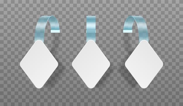 透明な背景に分離された白い空白の広告ウォブラー