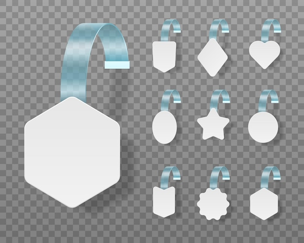 White blank advertising wobblers isolated on ransparent backgroundt. Premium Vector