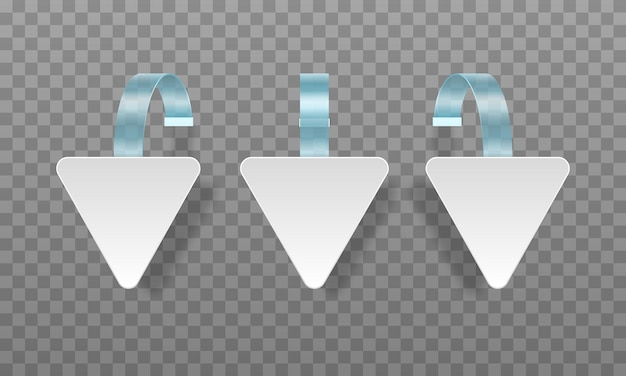 White blank advertising wobblers isolated on transparent background