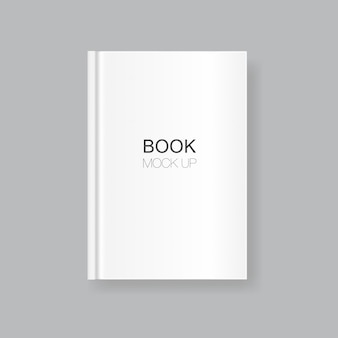 White blank book cover isolated on grey background. realistic closed vertical book, magazine or notebook template for your design. in front side of book.
