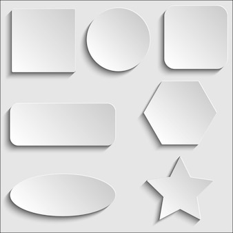 White blank button set. paper stickers