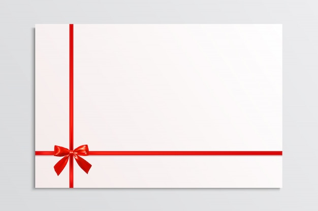 White blank card with a red bow and ribbons. design element. vector illustration