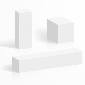 White blank cardboard boxes in various shapes and sizes