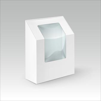 흰색 빈 골 판지 사각형 샌드위치, 음식, 선물, 플라스틱 창을 가진 다른 제품에 대 한 포장 상자를 가져가 흰색 배경에 고립 닫습니다
