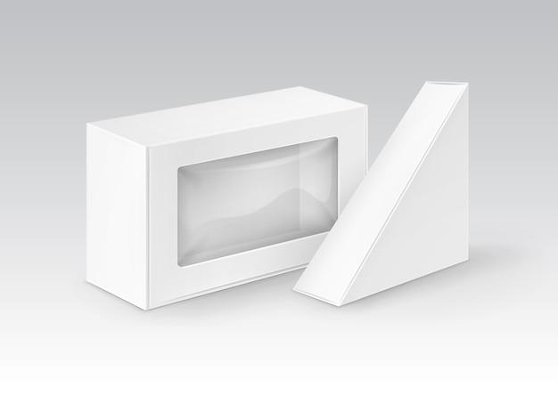 백색 공백 마분지 장방형 삼각형은 샌드위치를 위해 포장하는 상자를 나 릅니다