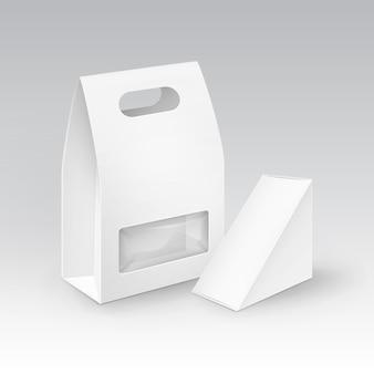 白い空白の段ボール長方形の三角形テイクアウトハンドルランチボックスサンドイッチ、食品、ギフト、その他のプラスチック製の窓のある製品の包装モックアップクローズアップ分離