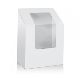 White blank cardboard triangle box. take away boxes packaging mock up with plastic window.