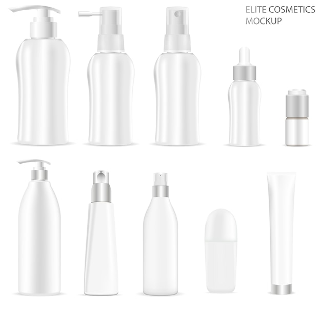 White blank cosmetic bottle packaging set.