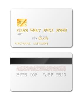 Белая пустая кредитная карта макет на белом