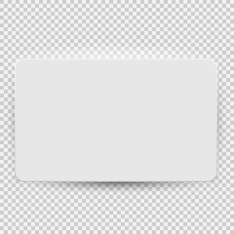 White blank credit or gift card model template top view with shadow isolated on transparent background. vector illustration eps10