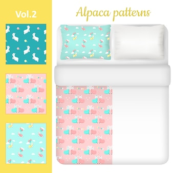 White blank and cute alpaca bed linen set