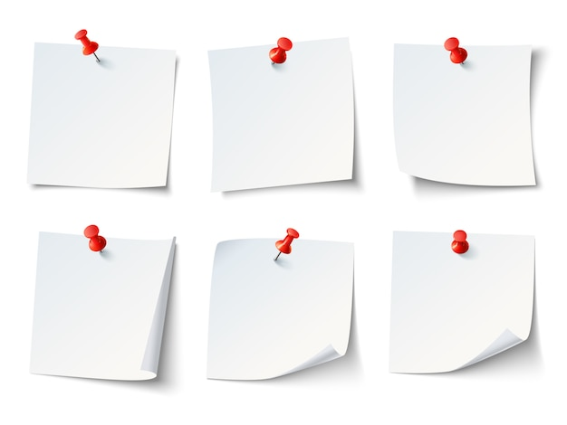 White blank draw papers, notes on red thumbtack.