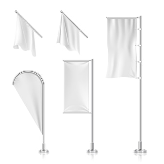 White blank flags, banners, advertising beach teardrop bow flags vector collection. frame from canva