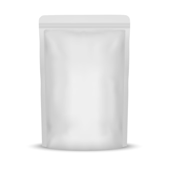 White blank foil food bag packaging