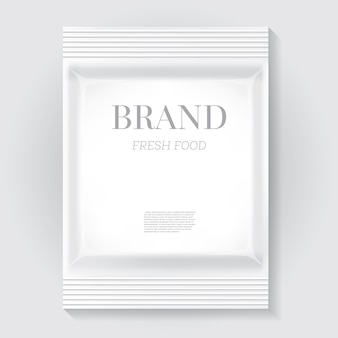 White blank food snack bag with copy space. vector illustration