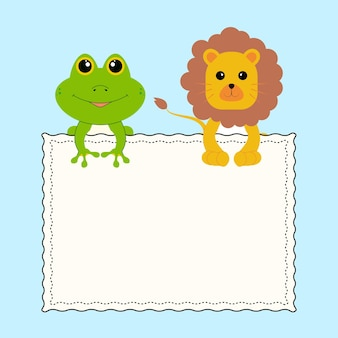 White blank frame with cute animals frog and lion on blue background. vector illustration.