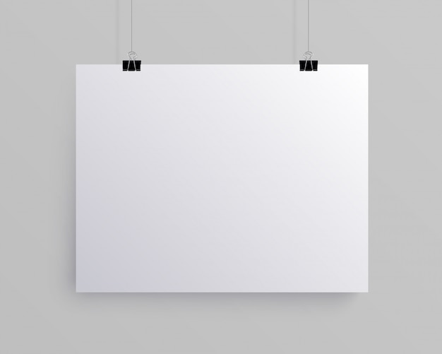 白い空白の水平用紙、モックアップ