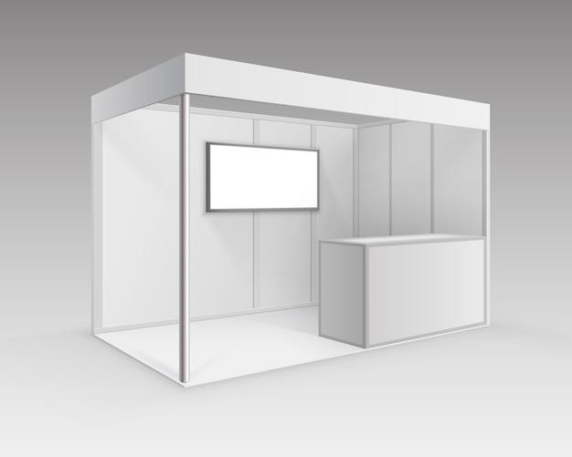 흰색 빈 실내 무역 전시회 부스 배경에 관점에서 격리 카운터 스크린 프리젠 테이션을위한 표준 스탠드