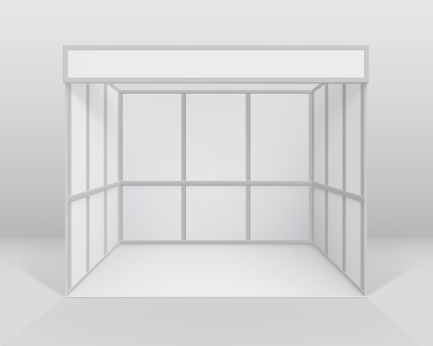 White blank indoor trade exhibition booth standard stand for presentation isolated