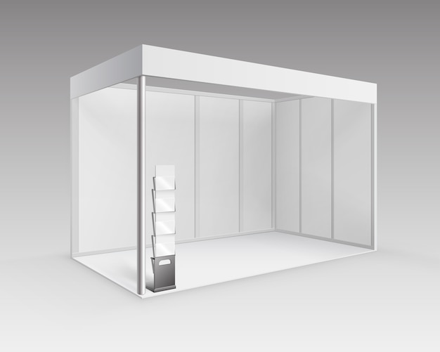White blank indoor trade exhibition booth standard stand for presentation with booklet brochure holder in perspective isolated on background