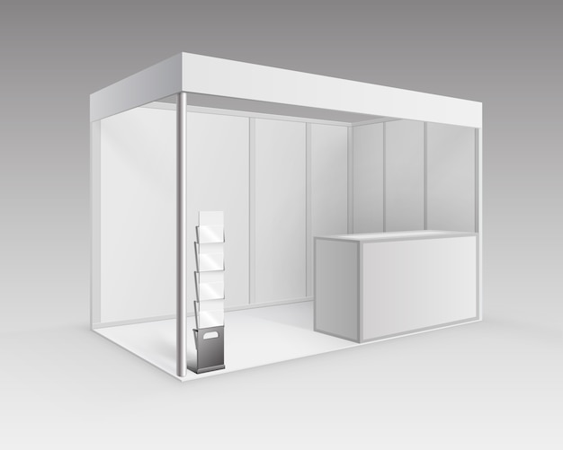 White blank indoor trade exhibition booth standard stand for presentation with counter booklet brochure holder in perspective isolated on background