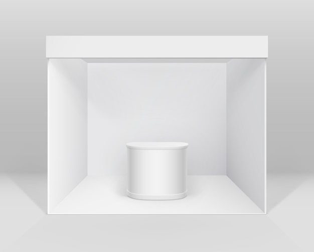 White blank indoor trade exhibition booth standard stand for presentation with counter isolated on background