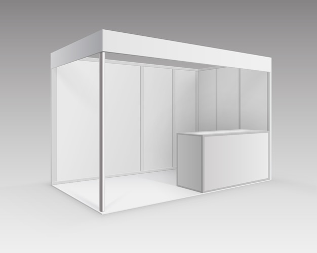 White blank indoor trade exhibition booth standard stand for presentation with counter isolated in perspective on background