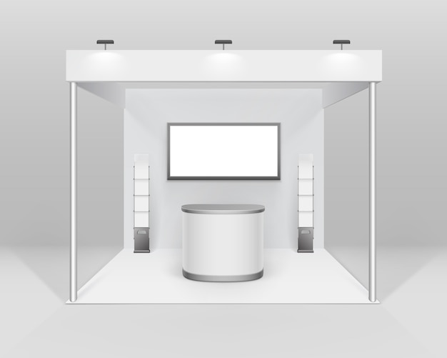 White blank indoor trade exhibition booth standard stand for presentation with counter spotlight screen booklet brochure holder isolated on background