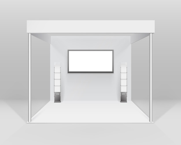 White blank indoor trade exhibition booth standard stand for presentation with spotlight screen booklet brochure holder isolated on background