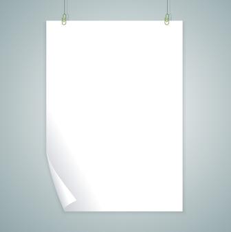 灰色の背景に分離された白い空白。 。空のテンプレート。