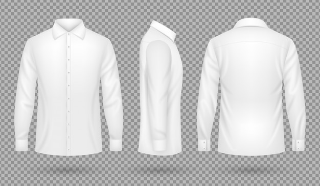 White blank male shirt with long sleeves in front, side, back views. realistic vector template isolated