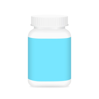 White blank medicine bottle and blue label for packaging design
