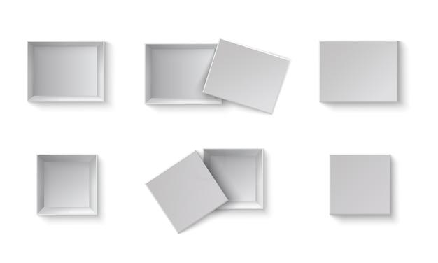 흰색 빈 포장 선물 상자입니다. 다른 각도에서 열리고 닫힌 상자 세트. 투명 한 배경에 흰색 개체입니다.