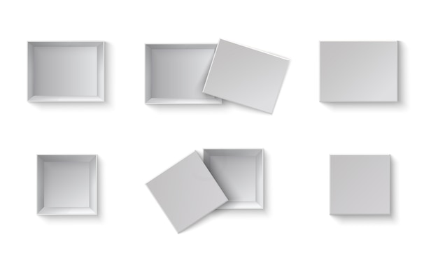 White blank packaging gift boxes. a set of open and closed boxes at different angles. white object on a transparent background.