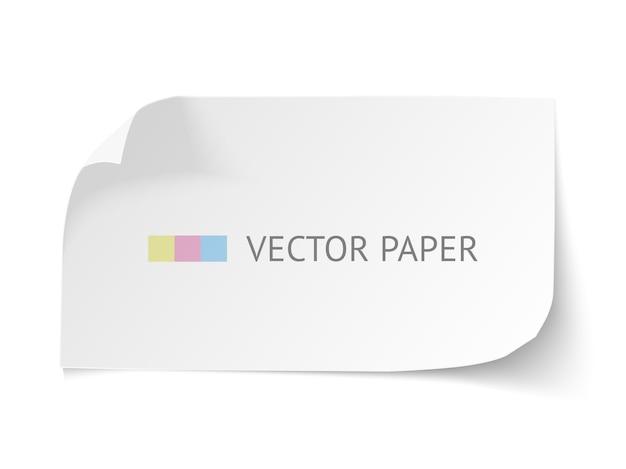 白い空白の紙は、白い背景で隔離のカールコーナーと水平方向のバナーを湾曲しました。ソフトシャドウの現実的な紙のテンプレート