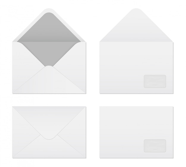 White blank paper envelopes template set.
