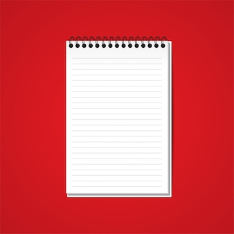 White blank paper note book on red background