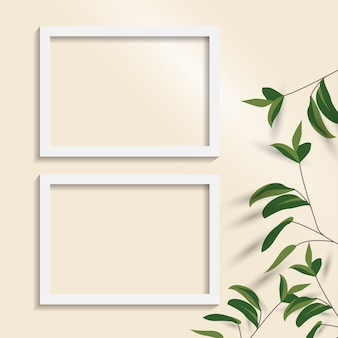 White blank picture frame. empty white picture frame isolated.
