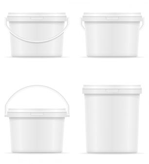 Белое пустое пластиковое ведро для краски векторная иллюстрация