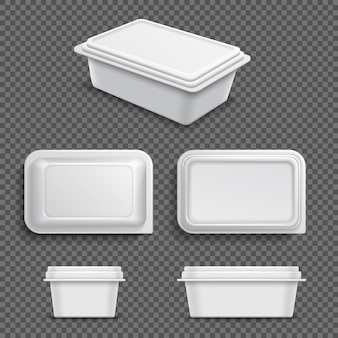 White blank plastic food container for margarine spread or butter. realistic 3d vector illustration