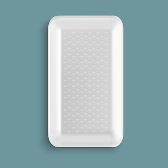 White blank  plastic food tray container