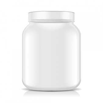 White blank plastic jar isolated on white background. sport nutrition, whey protein or gainer