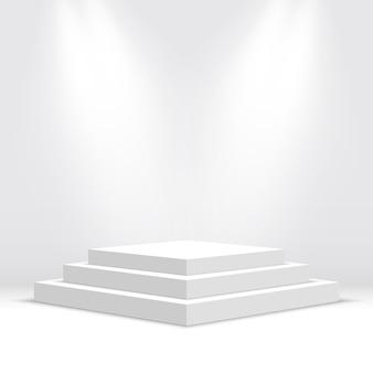 白い空白の表彰台。図。