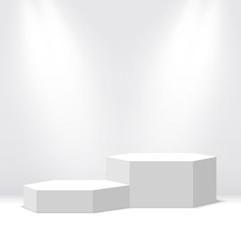 Белый пустой подиум. пьедестал. гексагональная сцена с прожекторами. иллюстрации.