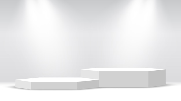 白い空白の表彰台。台座。スポットライトのある六角形のシーン。