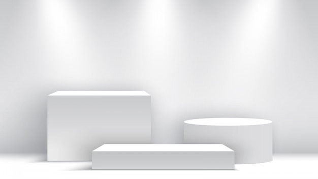 White blank podium. pedestal. scene. boxes.  illustration.