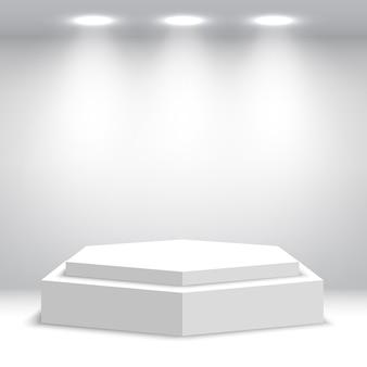 白い空白の表彰台。台座。シーン。