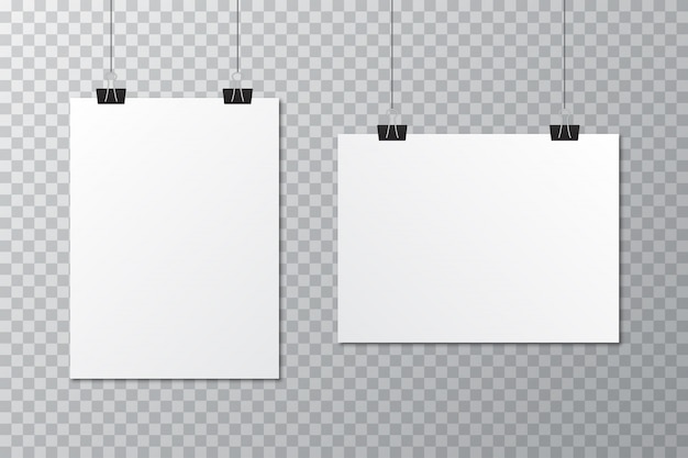 White blank poster template with stationery clip