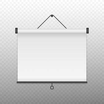 White blank projection screen for presentation or conference.