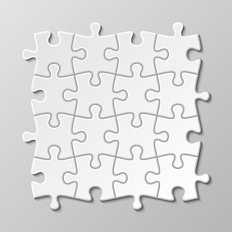 White blank puzzle piece set